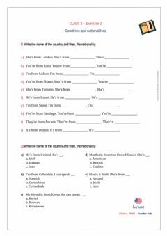 Interactive worksheet Countries and nationalites - 2