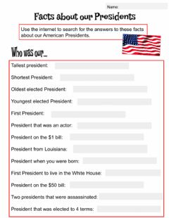 Interactive worksheet Facts About our Presidents