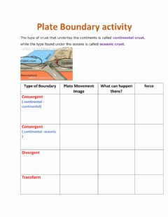 Interactive worksheet tectonic plate boundaries and forces