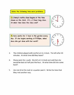 Interactive worksheet Time Word Problems