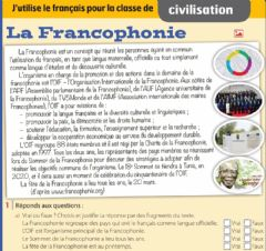 Interactive worksheet La Francophonie