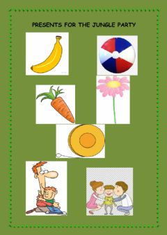 Interactive worksheet Presents for the jungle party