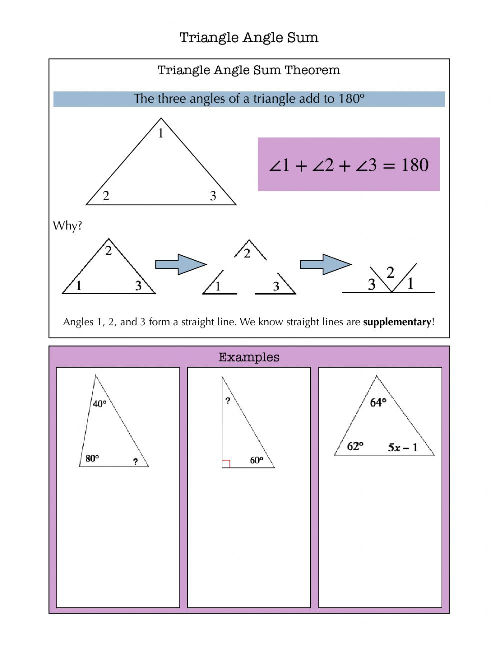 Triangle Angle Sum Notes worksheet Pertaining To Triangle Angle Sum Worksheet