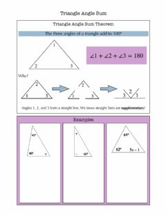 Interactive worksheet Triangle Angle Sum Notes