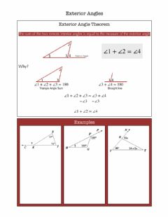 Interactive worksheet Exterior Angle Theorem