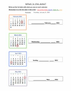 Ficha interactiva Calendar Date Fill in the Blanks