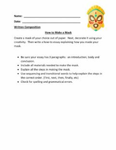 Ficha interactiva How To Essay-Making a Mask