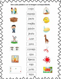Interactive worksheet Palabras letra J