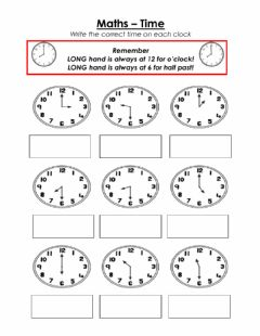 Interactive worksheet Time - half past and O'clock