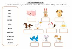 Interactive worksheet Animales en Japones - Romaji