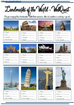 Interactive worksheet Landmarks of the world