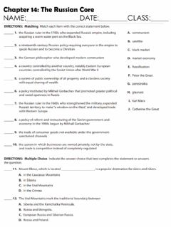 Interactive worksheet Chapter 14: Russia