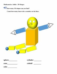 Interactive worksheet Geometry- 3 d shapes in pictures