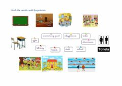 Interactive worksheet Matching school rooms and places