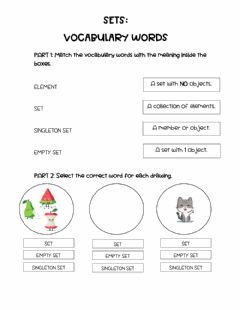 Interactive worksheet Sets:vocabulary words
