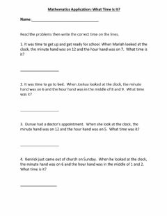 Interactive worksheet Math Application: Telling Time Word Problem