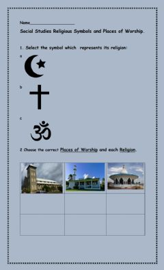 Interactive worksheet Religious Symbols and Places of Worship
