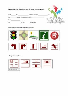 Interactive worksheet Directions and Places