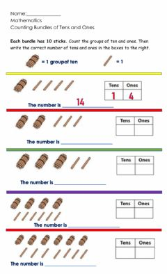 Interactive worksheet Counting groups of Tens and Ones