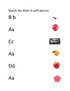 Interactive worksheet Match the letter Aa with picture