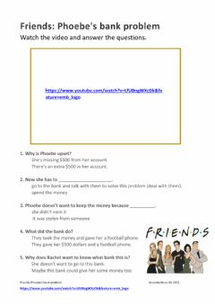 Interactive worksheet Friends: Phoebe's bank problem