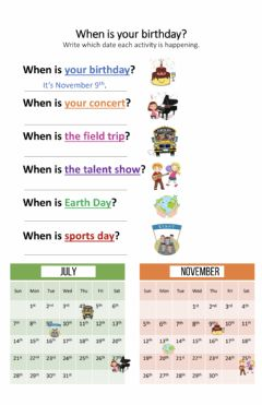 Interactive worksheet TeacherBee's -When Is Your Birthday- Worksheet