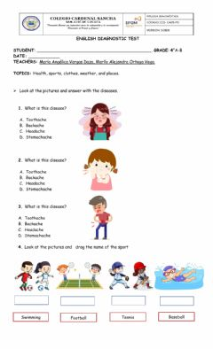 Interactive worksheet English diagnostic test fourth grade