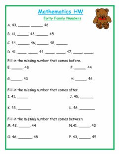 Ficha interactiva Fill in the missing number Forty Family HW