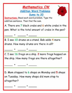 Ficha interactiva Addition Word Problems sums to 20 CW