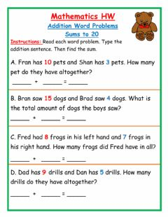 Interactive worksheet Addition Word Problems sums to 20 HW