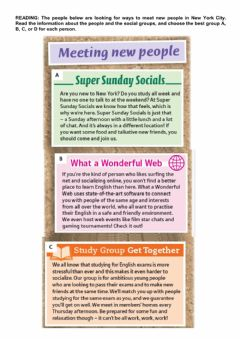 Interactive worksheet Reading: Meeting new people