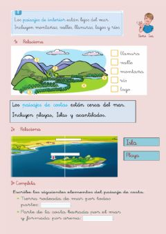 Interactive worksheet Paisaje de interior y de Costa