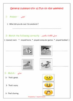 Interactive worksheet General Summary on Fun on the weekend