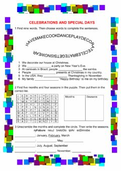 Interactive worksheet Celebrations and special days