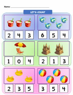 Interactive worksheet Let's Count (Numbers 1-5) (At The Beach)