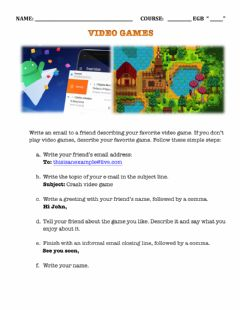 Interactive worksheet Video games mail