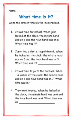 Interactive worksheet Telling time word problem