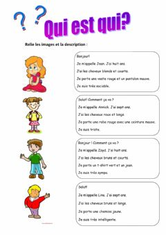 Interactive worksheet Qui est qui?