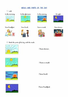 Interactive worksheet Parts of the day and meals