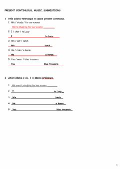 Interactive worksheet Present Continuous, music