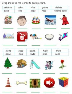 Interactive worksheet Silent e
