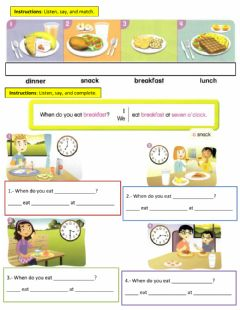 Interactive worksheet When do you have breakfast?