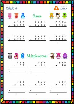 Interactive worksheet Calculo T2 - 4 sumas-multiplicaciones