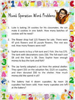 Interactive worksheet Mixed Word Problems