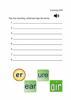 Interactive worksheet Phonics-Sounds 'ear', 'air', 'ure' and 'er'