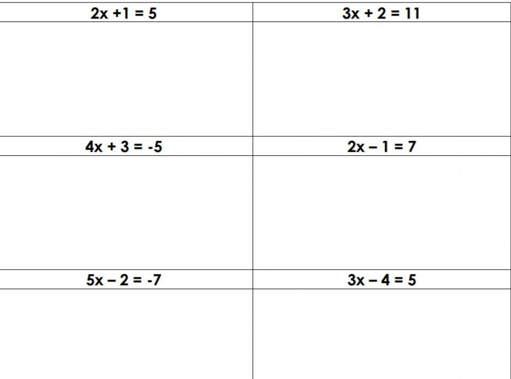 Solving Two Step Linear Equations Interactive Worksheet