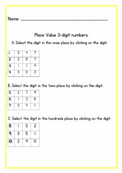 Interactive worksheet Place Value 3 digit numbers