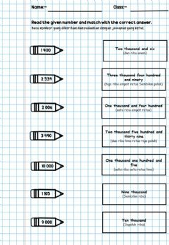 Interactive worksheet Read number year 3