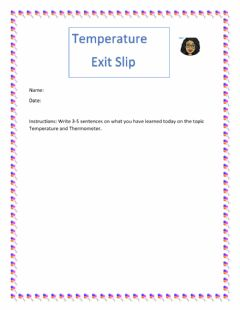 Interactive worksheet Temperature Exit Slip