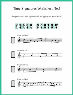 Interactive worksheet Time Signature Identification